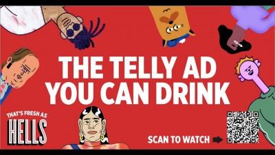 Първата реклама на бира, която може да се пие от телевизора